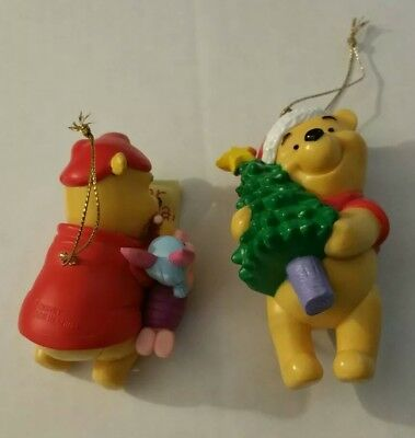 Disney Hallmark Winnie The Pooh And Piglet Dear Santa & Pooh with Tree Ornaments