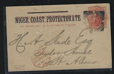 Niger Coast Protectorate (P3004B) Qv Psc From Old Calabar To England 1895 No Msg