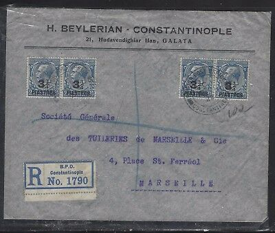 British Levant Offices In Turkey (P1410B)  Kgv 3 2/4Pix4 Reg Cover To France