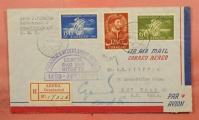 1949 Curacao Fdc Oranjestad Registered Airmail To Usa 86415