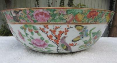 LARGE ANTIQUE 19thC CHINESE FAMILLE ROSE PUNCH BOWL