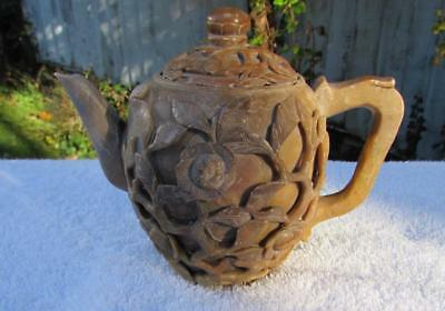 Rare Antique 18th / 19thC Chinese Carved Soapstone Teapot in High Relief