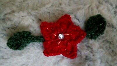 Poinsettia Knitted Brooch