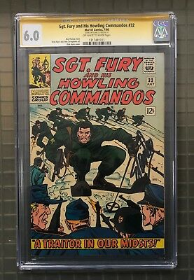 Stan Lee Signed SGT. FURY & HIS HOWLING COMMANDOS #32 AUTO Marvel 1966 CGC 6.0