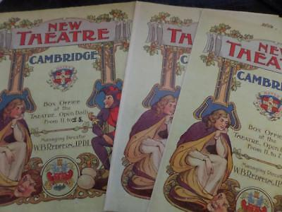 Lot of 3 x Edward Terry Programmes New Theatre Cambridge 1904 /5