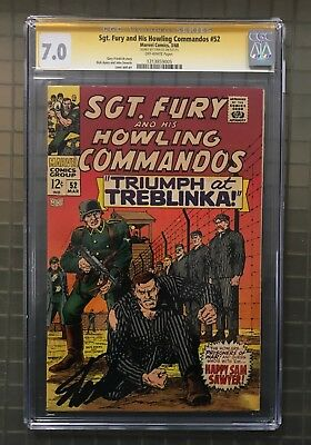 Stan Lee Signed SGT. FURY & HIS HOWLING COMMANDOS #52 AUTO Marvel 1968 CGC 7.0
