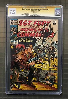 Stan Lee Signed SGT. FURY & HIS HOWLING COMMANDOS #61 AUTO Marvel 1968 CGC 7.5