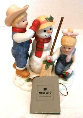 "Homco Denim Days 2003 ""holiday Time Snowman"" Figure With Tag"