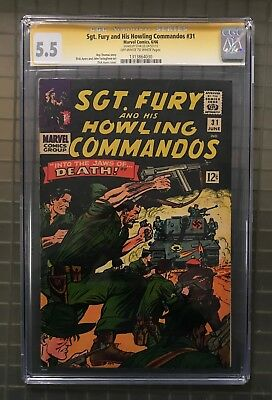 Stan Lee Signed SGT. FURY & HIS HOWLING COMMANDOS #31 AUTO Marvel 1966 CGC 5.5