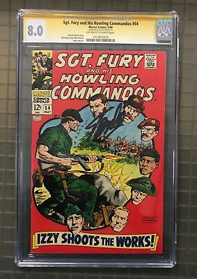 Stan Lee Signed SGT. FURY & HIS HOWLING COMMANDOS #54 AUTO Marvel 1968 CGC 8.0