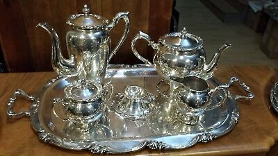 4010g CAMUSSO STERLING SILVER COLONIAL PLAIN STYLE COFFEE TEA SET OF 6 PIECES