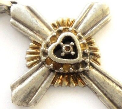 """Beautiful Ancient .925 Silver Cross Pendant : """" I Am The Light Of The World """""""