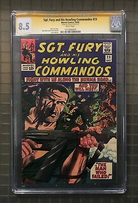 Stan Lee Signed SGT. FURY & HIS HOWLING COMMANDOS #23 AUTO Marvel 1965 CGC 8.5