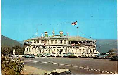 Postcard Pittsburgh PA Grand View Ship Hotel Ad With Vintage Cars And St View
