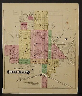 Wisconsin Walworth County Map City of Elkhorn 1873 Double Side J22#32