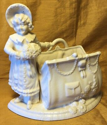 Antique Victorian White Porcelain Planter Girl Figurine w Purse: Japan Leaf w/ K