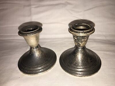 """One PAIR Gorham 661 Sterling Silver Candle Holder Candlestick, 3.5"""" Tall"""