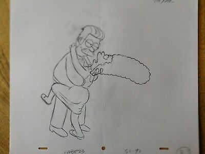 SIMPSONS TV Show Original Animation Art Cel Drawing Marge #72
