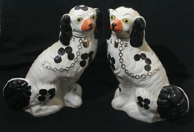 "Antique Vintage Pair of Large Fireside Staffordshire Dogs 11 1/2"" in Height"