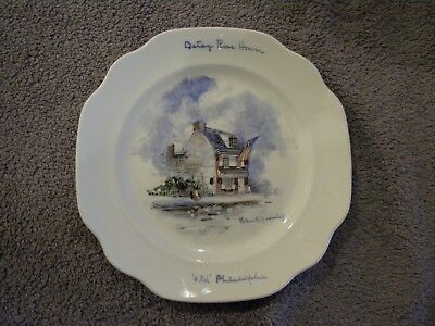 Betsy Ross House collector plate hand-painted by Helen R Yearsley, Philadelphia