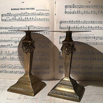 2 Antique Vtg Fluted Brass Pillar Candle Holder * Xmas Regal Lion Head Crest