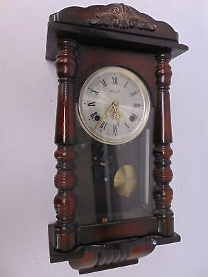 Small Vintage Wooden Decorative HOLLY Wall Clock Pendulum Chimes With Key - SA1
