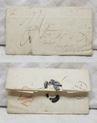 1824 Stampless Cover Dublin To Isle of Wight Capt 70th British Regiment Letter