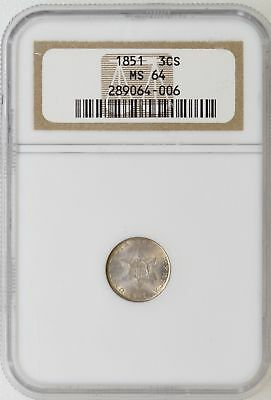 1851 NGC MS64 Three 3 Cent Silver Trime Gorgeous Color & Luster - I-15589
