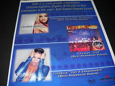 CHRISTINA AGUILERA Ilegales and GISSLLE 2001 Promo Display Ad mint condition