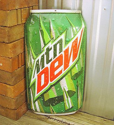 Mountain Dew Embossed Can Metal Tin Sign Pop Cola New Ande Rooney Garage Large
