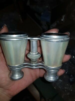 Mother Of Pearl Antique Opera Glasses With Case Vintage