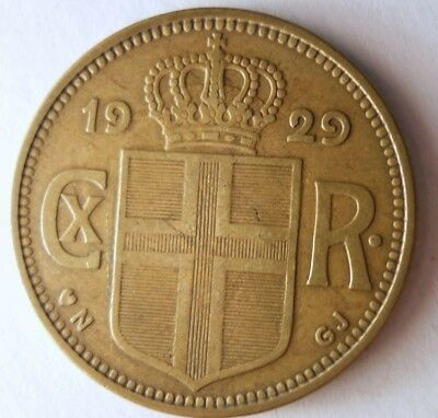 1929 ICELAND 2 KRONUR - HIGH GRADE - Strong Value Key Coin - Lot #N15