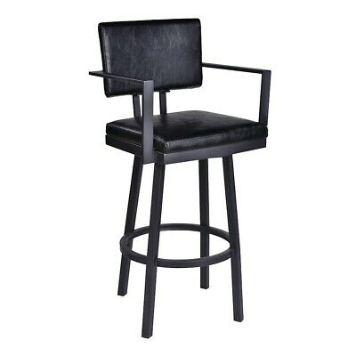 6342eacce90 UPHOLSTERED BACKLESS SQUARE Bar Stool In Black Finish. -Set Of Two ...