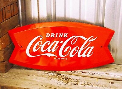 Coca-Cola Coke Fishtail Fish Tail Logo 19 Embossed Metal Tin Sign Vintage Garage