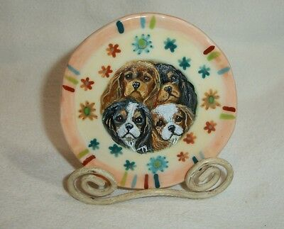 Hand Painted Cavalier King Charles Spaniel miniature plate with stand