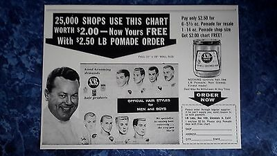 Rare 1940's LB POMADE Butch Official Hair Styles Chart Drawings Barbershop Sign