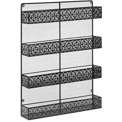 BCP 4 Tier Large Wall Mounted Wire Spice Rack Organizer - Black