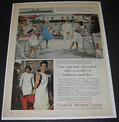 Print Ad 1963 CRUISE SS America United States Ocean Liner FASHION by Wragge