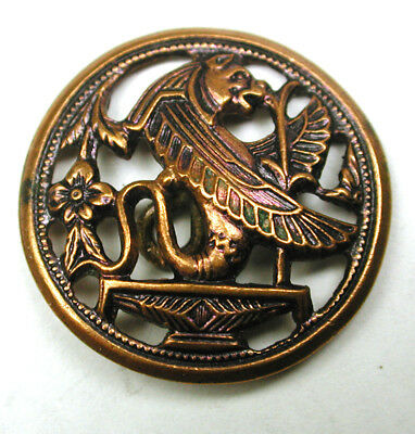 BB Antique Pierced Copper Button Winged Egyptian Fabulous Creature Detailed! 1""
