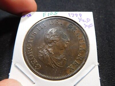 F105 Great Britain 1799 1/2 Penny XF