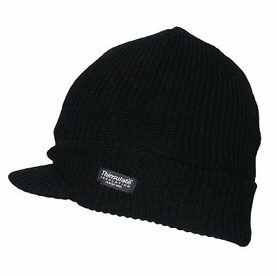 Wholesale Winter Sale 12 Black Knitted Fleece Lined Peak Hats Charity Buy £1.25