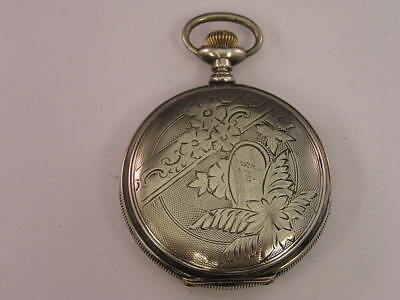 Vintage Waltham Pocket Watch Hunter Case Sterling Silver 51mm