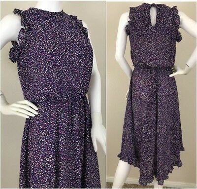 Vintage 70's 80's Polyester Floral Novelty Print Ruffled Summer Sun Dress