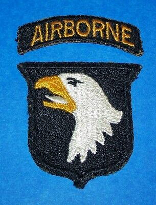 ORIGINAL GREENBACK WW2 101st AIRBORNE DIVISION TYPE 6 PATCH + TAB