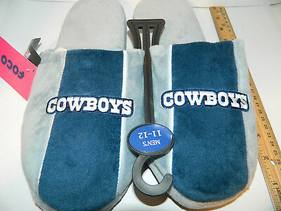 2018 Size Large DALLAS COWBOYS NFL TEAM SLIPPERS BLUE GREY PLUSH Mens party