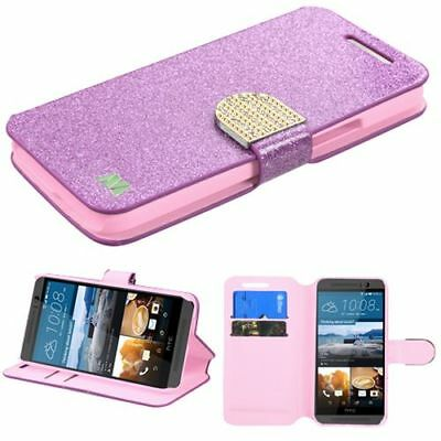 For HTC One M9 Purple Gold Leather Glitter Case Cover w/stand w/card slot