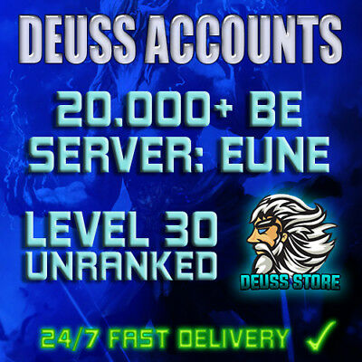 League of Legends Account 20000+ BE LoL Smurf ACC EUNE Level 30+ Unranked 20k+
