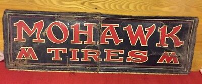 """Antique Metal Advertising Sign Mohawk Tires 35x11"""" Cut In 2 Pieces"""