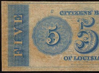 UNC 1800s $5 DOLLAR BILL CITIZENS BANK LOUISIANA NOTE LARGE CURRENCY PAPER MONEY