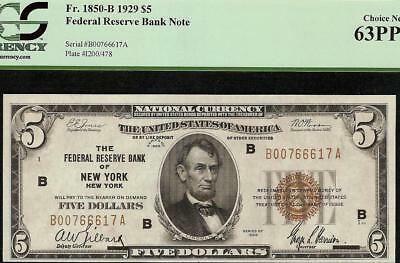 UNC 1929 $5 DOLLAR FEDERAL RESERVE BROWN SEAL BANK NOTE Fr 1850-B PCGS 63 PPQ